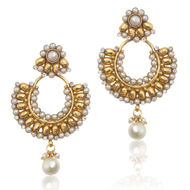 Beautiful ethnic Indian Pakistani earrings with pearl stones and ...