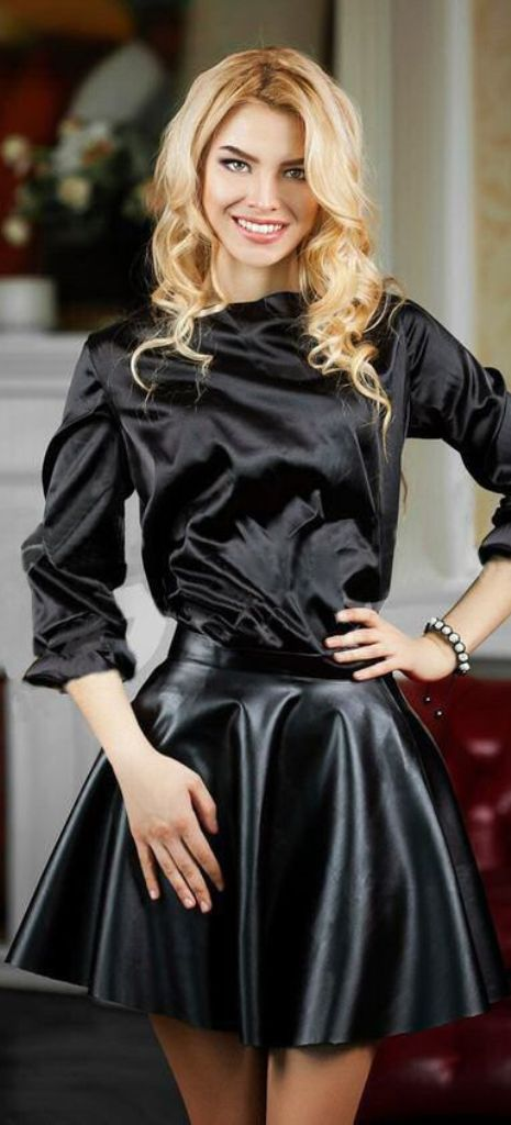 Leather skater skirt fashion  63acfa3f9a43