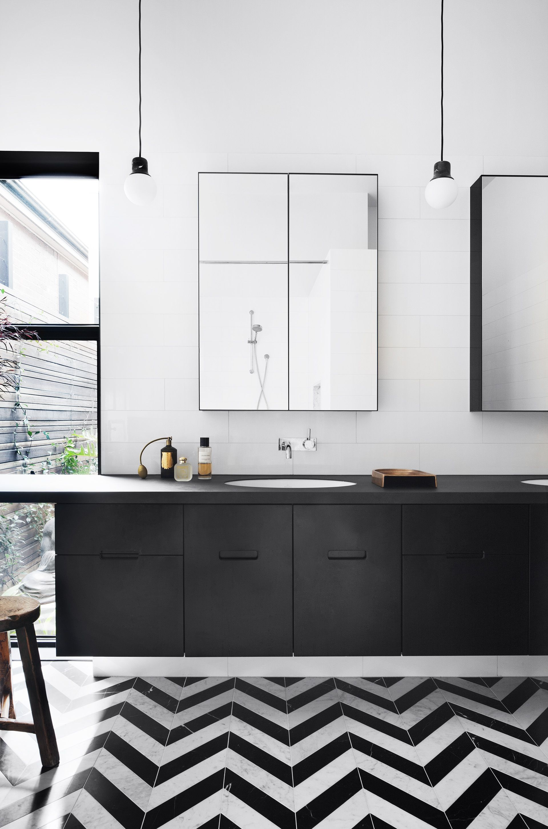 Black And White Bathroom From Heritage Victorian Home With Contemporary  Extension By Hindley U0026 Co.