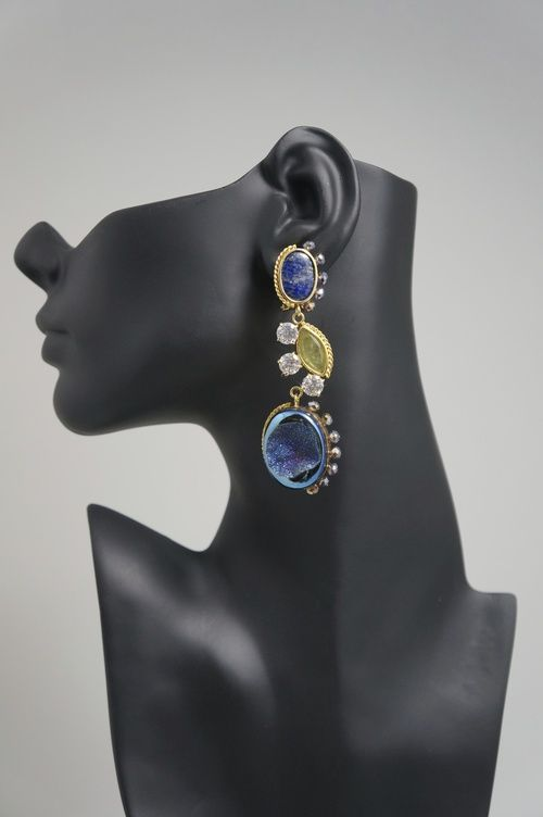 """Druzy Royal Blue Agate Stone Earrings with Crystals and Zirconia with Half Moon Peridot.  Handmade 18K Gold Plated Silver Lightweight Pin and Omega Clip Fastening Length 3.8""""/ 8.7cm  www.rodolfolugo.com"""
