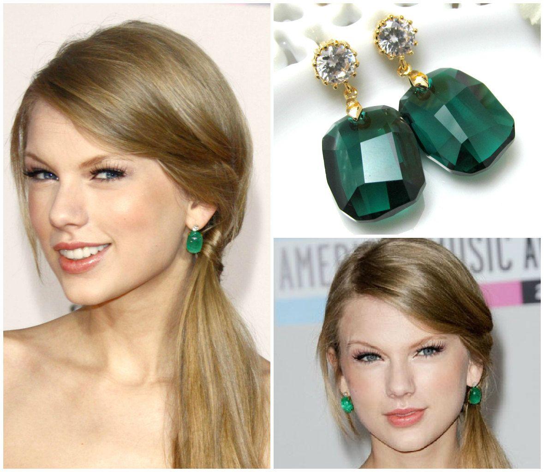Emerald Green Earrings Taylor Swift Earrings Swarovski Crystal Graphic Emerald  Earrings Celebrity Inspired Emerald Jewelry Bridesmaid