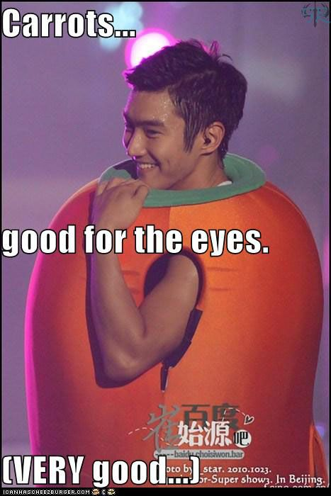 Carrots... good for the eyes. VERY good for the eyes! O.O #Siwon #SuperJunior