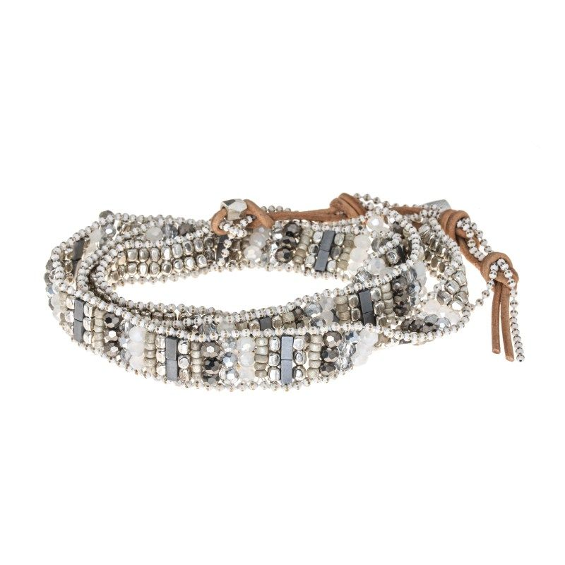 This #beaded wrap #bracelet has #silver, #white and gun metal beads with tan leather and a button closure. * Marlee's Designs * #Boheme Collection Wrap Bracelet   Marlee's by Tappers   www.marleesstyle.com