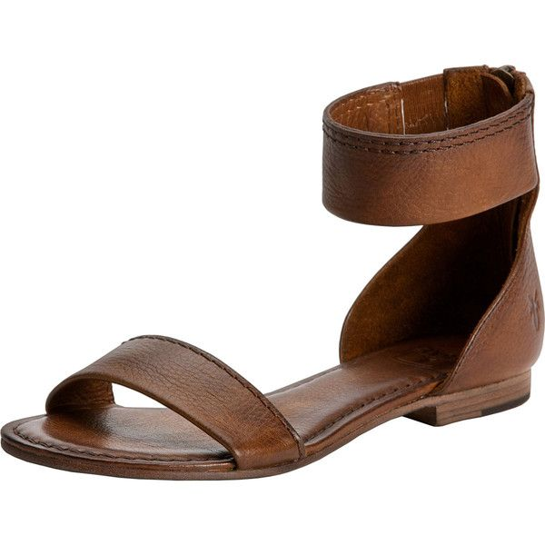 Frye Carson Ankle Zip Sandal ($119) ❤ liked on Polyvore featuring shoes, sandals, frye sandals, leather shoes, strappy shoes, leather strap shoes and leather sandals