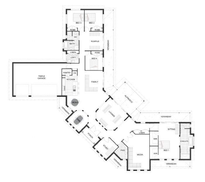 Montville 466gj gardner homes queensland normally im not fond of one level designs this one i like dream home house plans pinterest house and