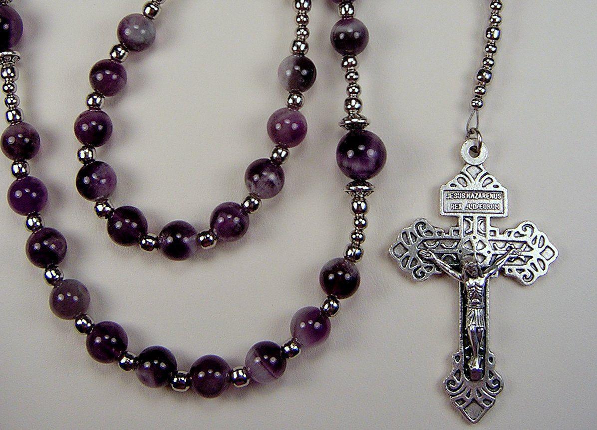 Mens rosary catholic fathers day gemstone inch amethyst beads