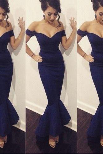 Navy Blue Prom Dress,Off the Shoulder Prom Dress,Mermaid Prom Dress,Long Prom Dress,Evening Formal Dress,Women Dress