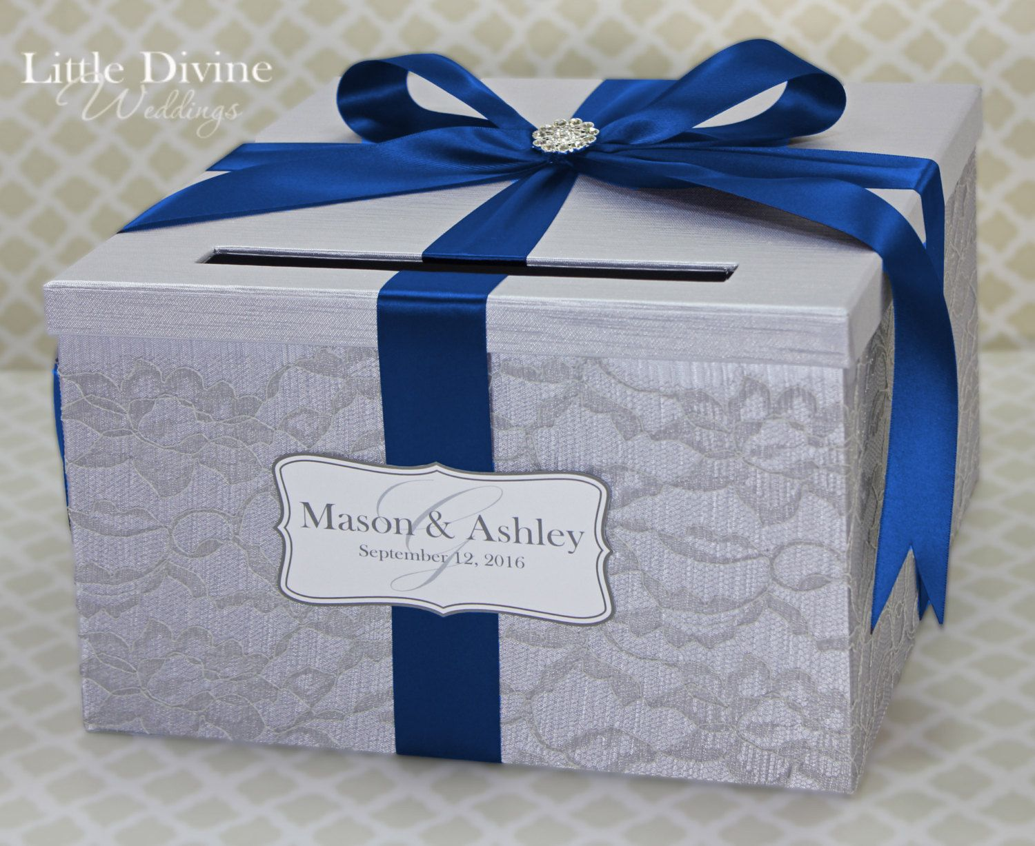 Satin wedding card box with royal blue flower and rhinestone mesh trim - Wedding Card Box Lace Silver Royal Blue Custom Made In Your Color Card Holder