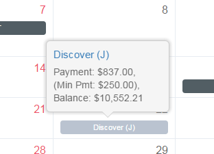 The minimum payment amount is now also shown on the payment planner calendar