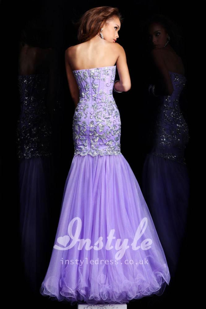 Strapless Convertible Mermaid Beaded Lilac Prom Dress with Tulle ...