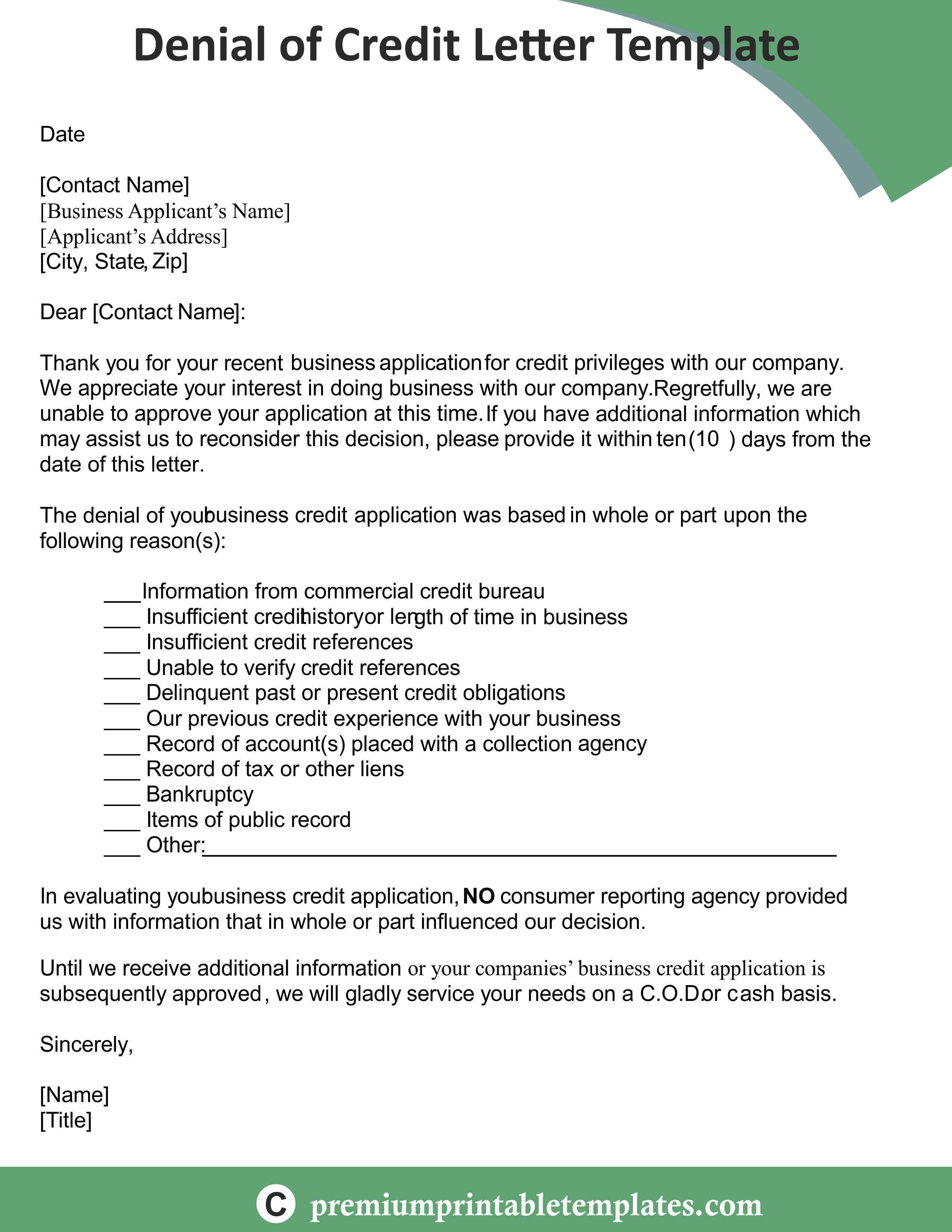 Credit Denial Letter Credit Letter Lettering, Denial