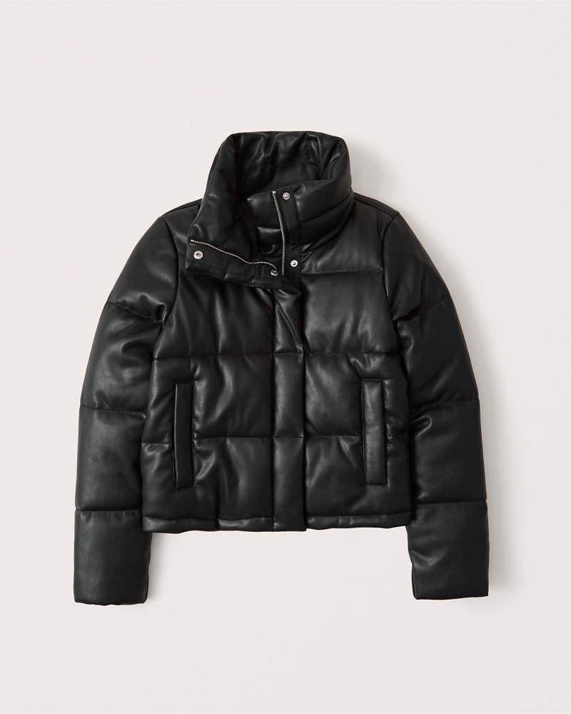 Women S Vegan Leather Mini Puffer Women S Coats Jackets Abercrombie Com In 2020 Fall Jacket Trends Faux Leather Jackets Fall Jackets