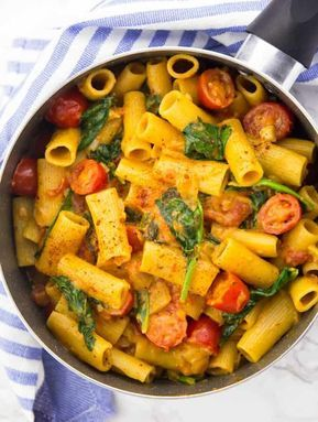 One Pot Pasta mit Spinat #easyonepotmeals