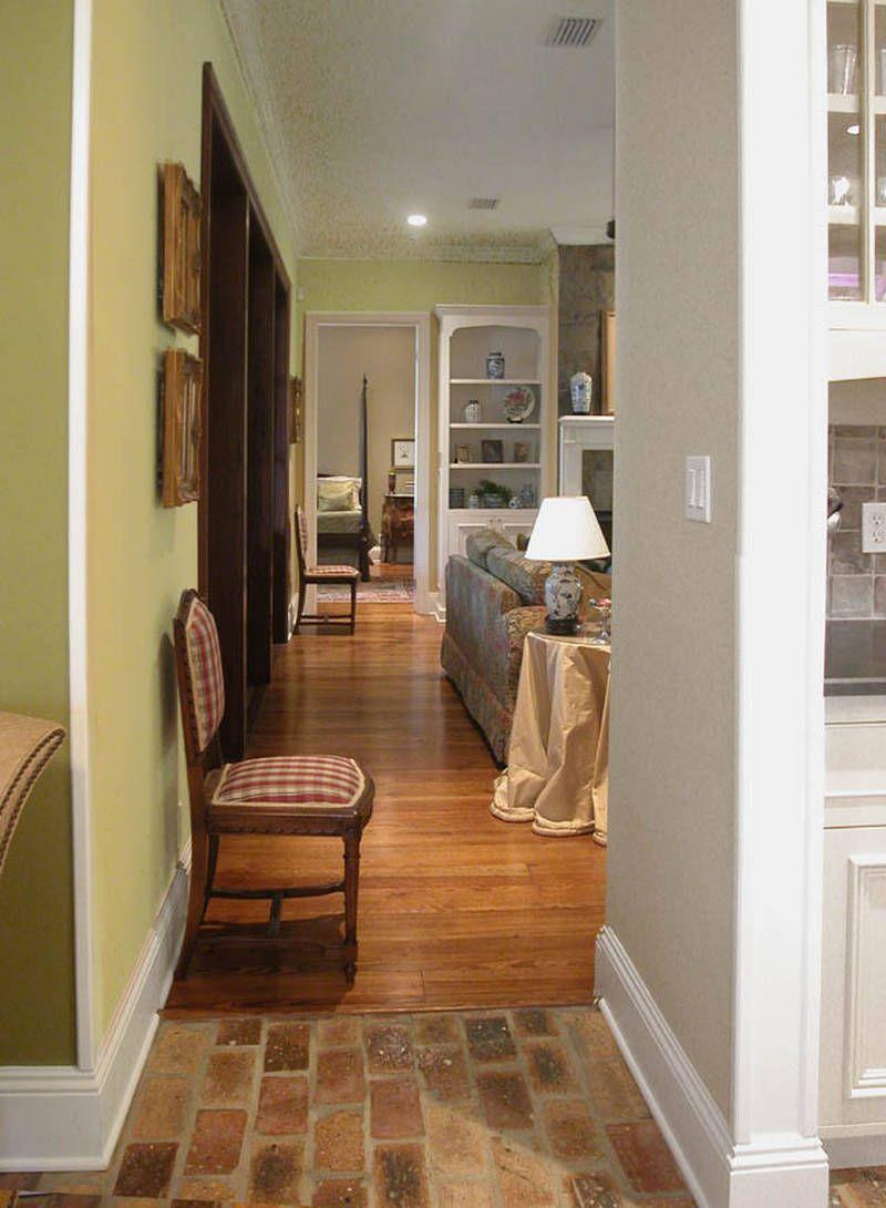 brick transition to wood Brick floor kitchens Pinterest