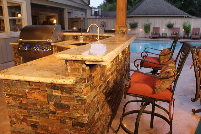 Dry Stack Stone Faced Outdoor Kitchen Outdoor Stone Outdoor Kitchen Outdoor