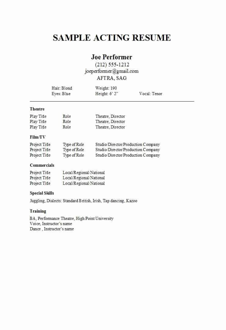 Special Skills Acting Resume Printable Resume Template Resume Template Word Acting Resume Acting Resume Template