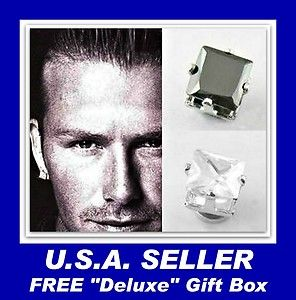 """STAINLESS STEEL BLACK & CLEAR SQUARE 8mm """"MAGNETIC"""" CZ STUD EARRINGS – Gift Boxed"""