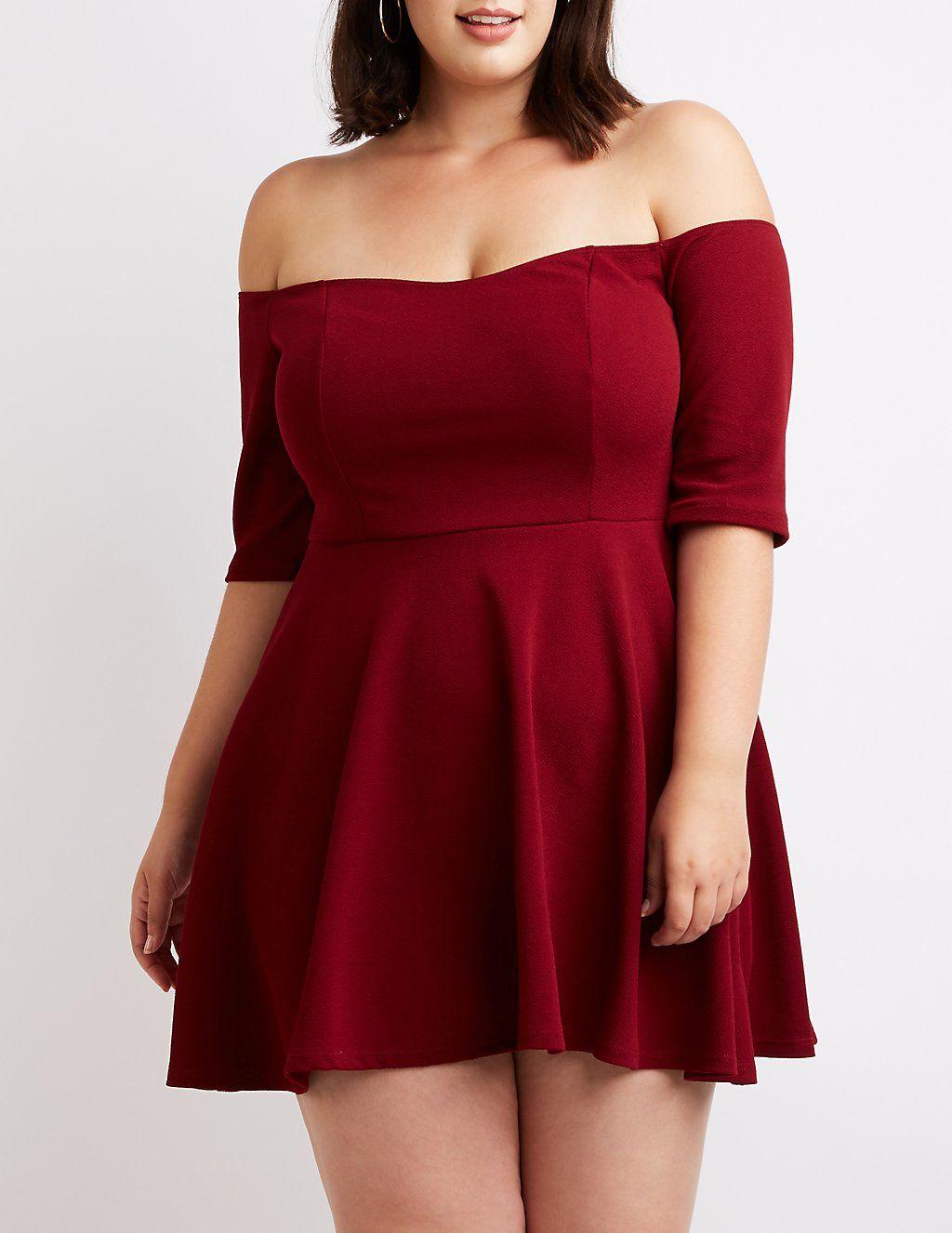 Plus Size Off The Shoulder Skater Dress | Plus size skater ...