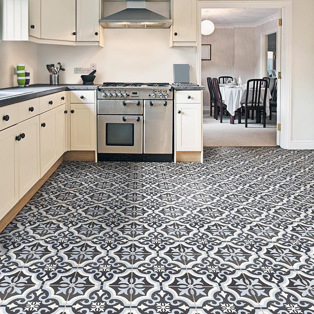 Blue Kitchen Flooring Ideas: Merola Tile Braga Blue Encaustic 7-3/4 In. X 7-3/4 In