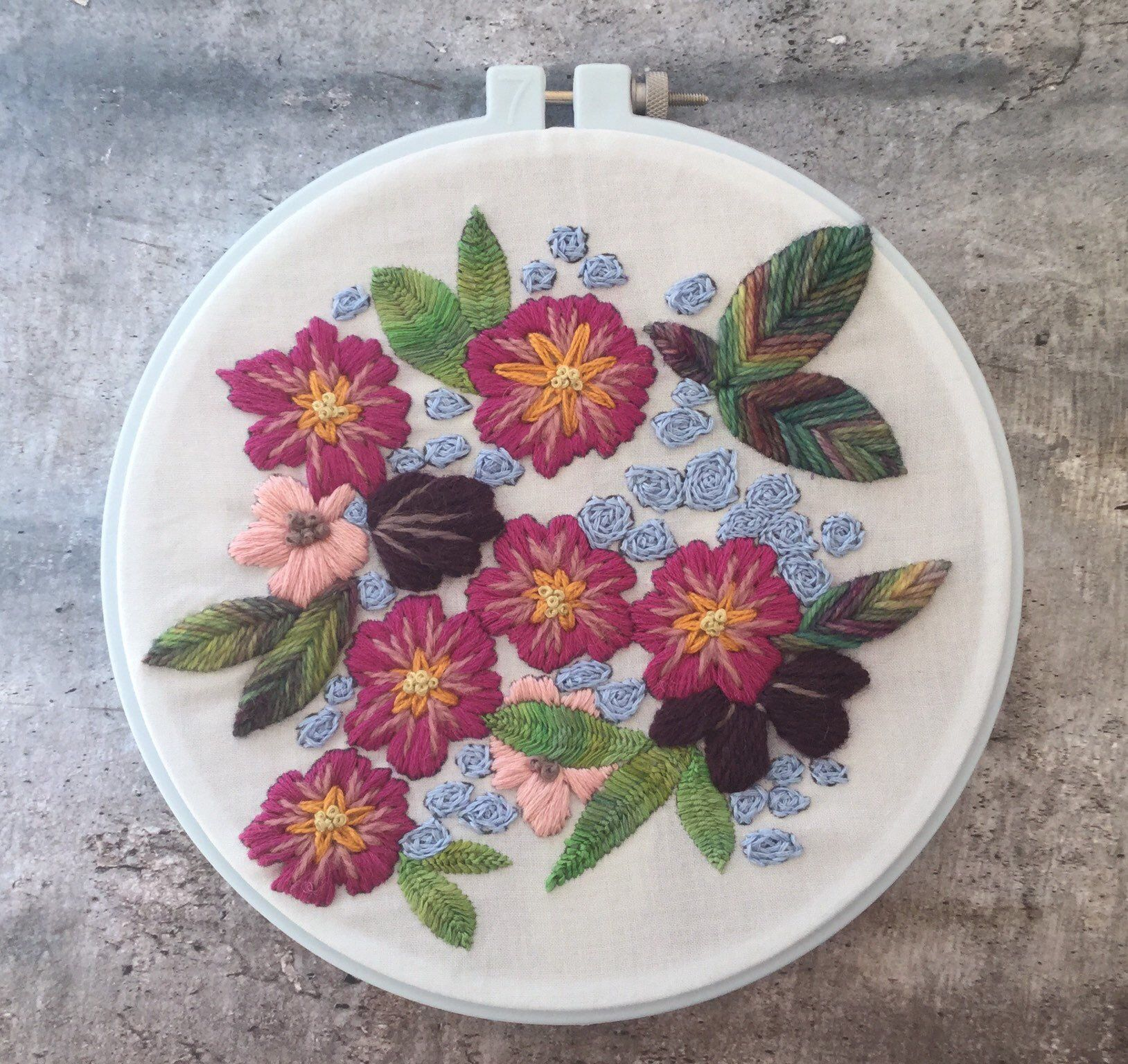 Floral embroidery sampler 3 cosmos and carnations