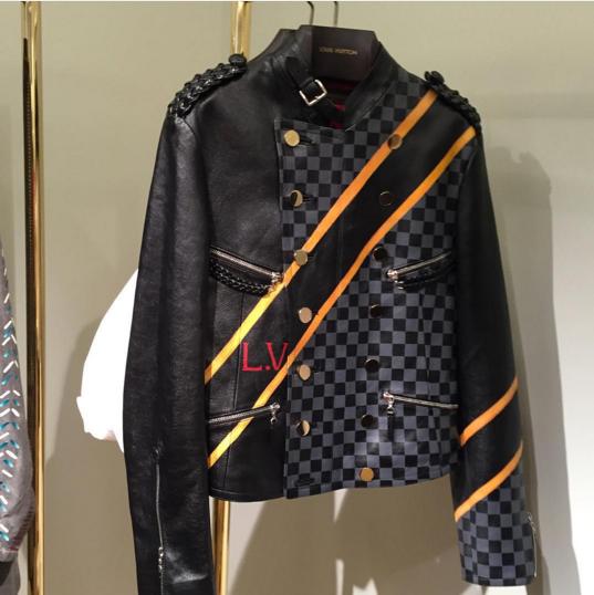 Louis Vuitton Black/Damier Graphite Leather Jacket
