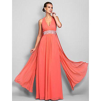vestido de la envoltura / columna v-cuello palabra de longitud gasa noche / fiesta de graduación (699424) – USD $ 109.79