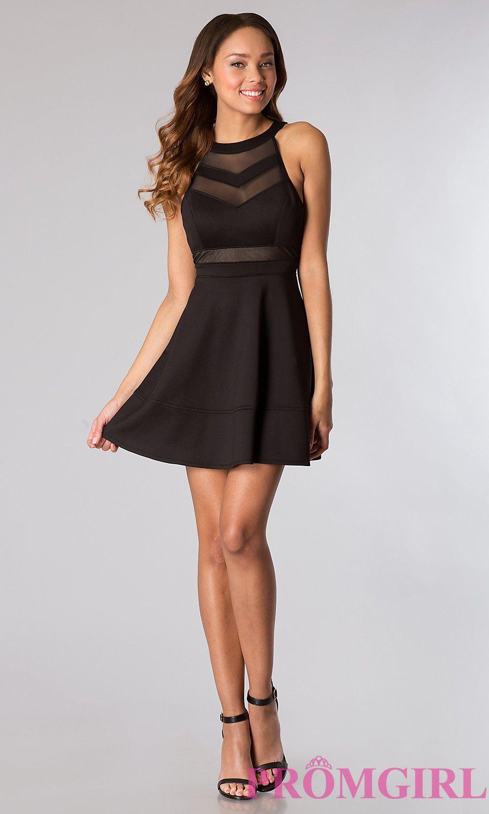 Image of short sleeveless high neck sheer bodice design dress detail