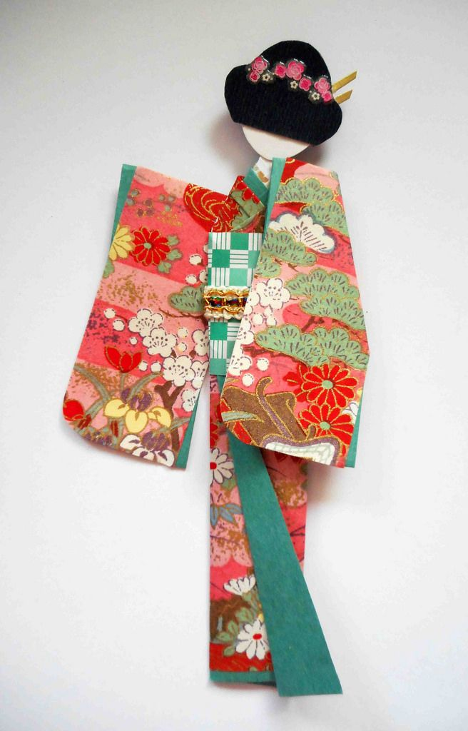 Origami washi doll for framing | Stripped nails, Paper ribbon and ...