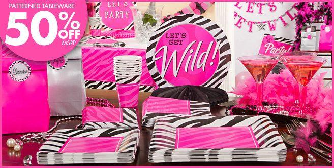 Zebra Party Personalize It Party Supplies Party City Pink Black