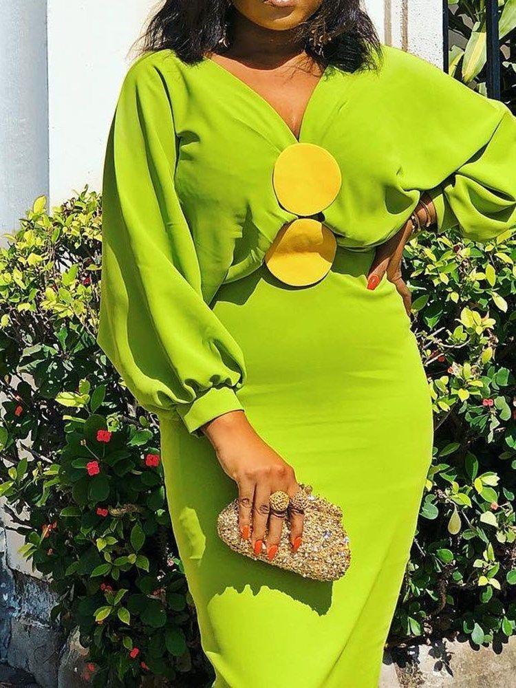 Patchwork Long Sleeve V-Neck Lantern Sleeve Womens Bodycon Dress #afrikanischerstil Tidebuy.com Offers High Quality Patchwork Long Sleeve V-Neck Lantern Sleeve Womens Bodycon Dress, We have more styles for Dresses #ankarastil