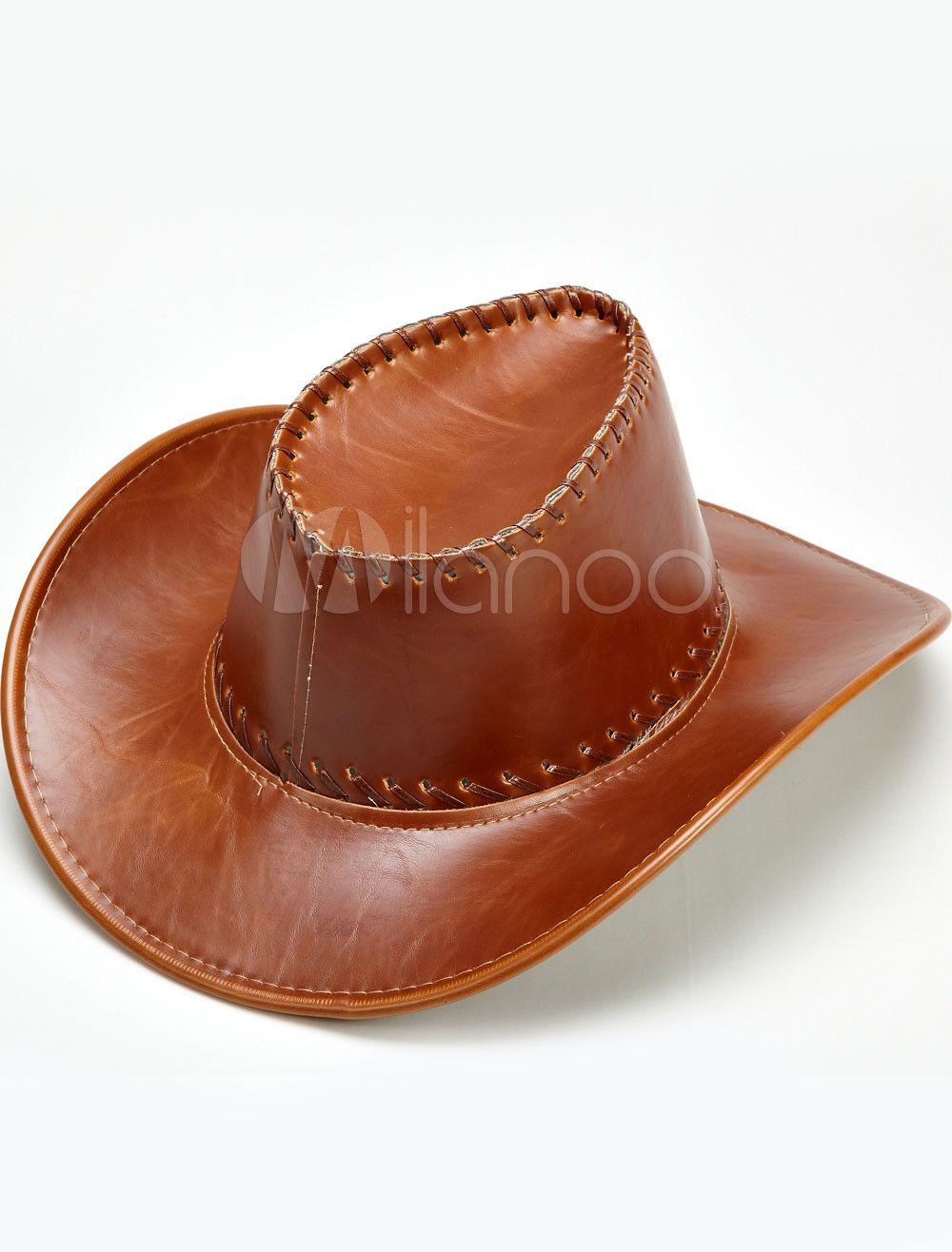029d8f61945a8 Brown sombreros de Cowboy de imitación cuero masculino