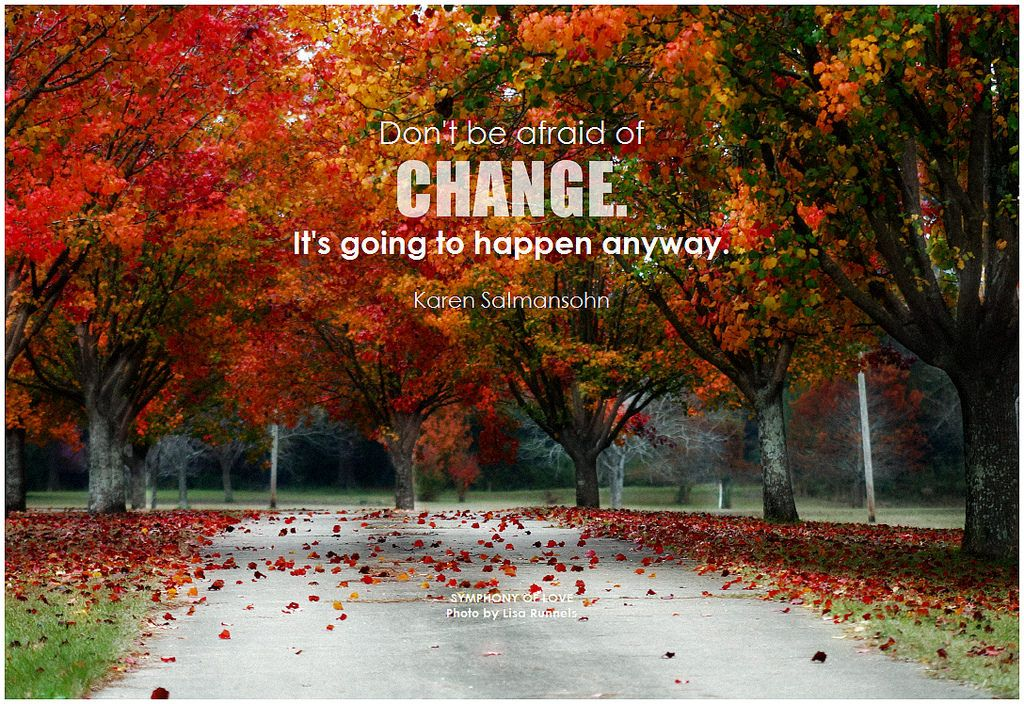 Don't be afraid of change. It's going to happen anyway