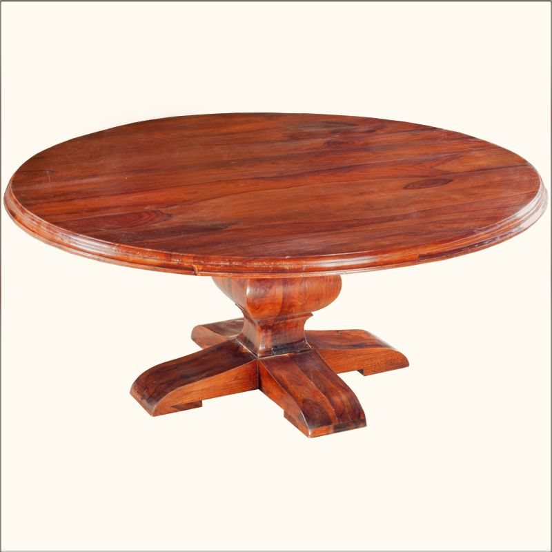 "Sierra Solid Wood 84"" Large Round Dining Table For 10"