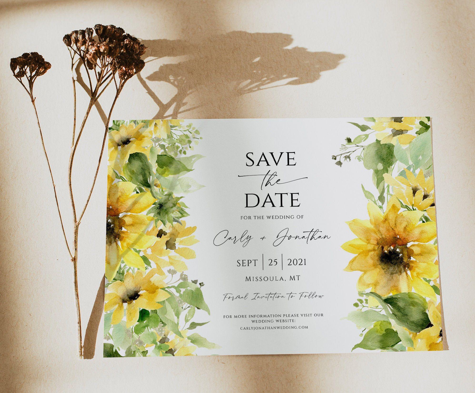 Sunflower Save the Date Invitation Template, Editable