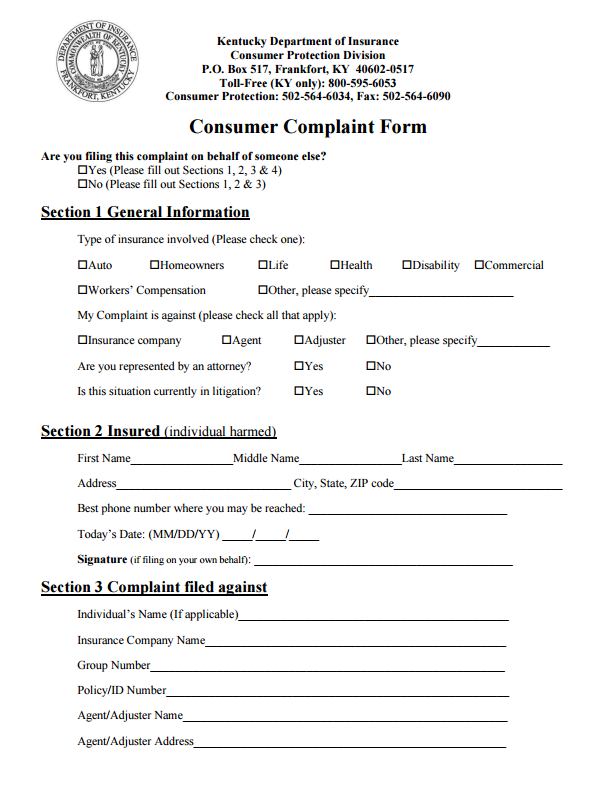Kentucky Insurance Commissioner Complaint Complaints Kentucky Frankfort