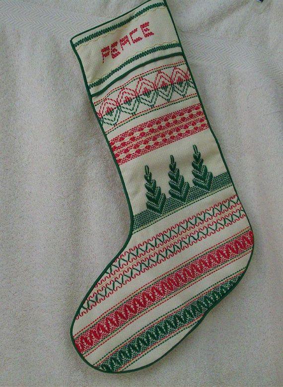 Huck Weaving Christmas Stocking | bordados | Pinterest | Bordado ...