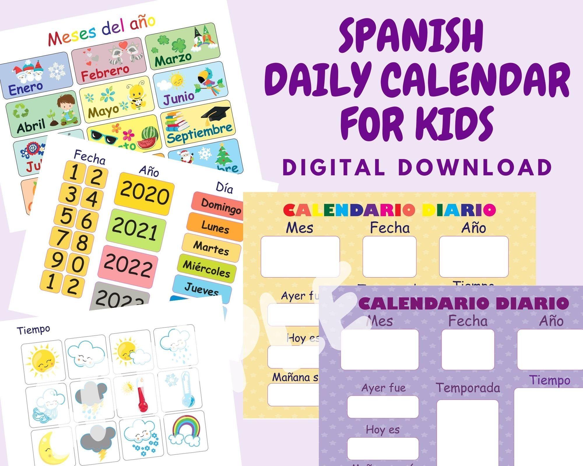 Spanish Daily Calendar For Kids Morning Board Preschool