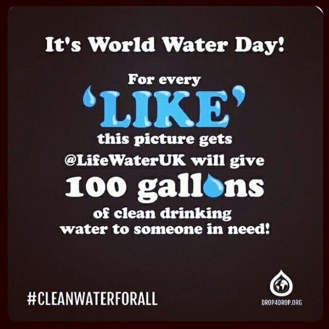 #WWD2015 #cleanwaterforall @lifewateruk. #100gallonsperlike #socialgood #socialmedia