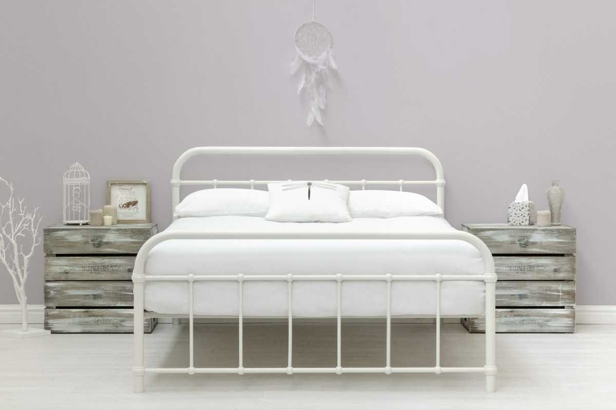 Henley Victorian Hospital Style White Metal Bed Frame Single