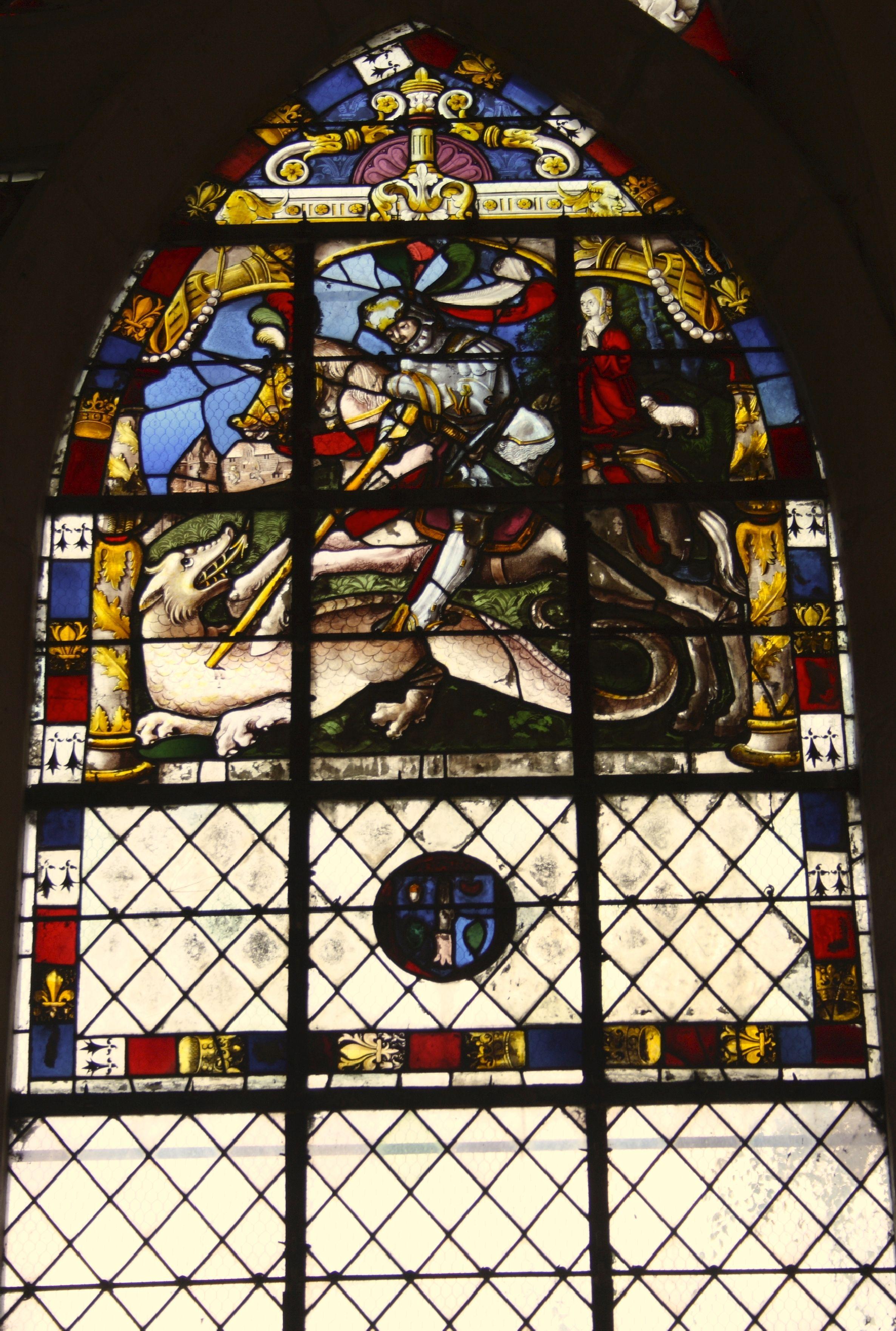 Ehemalige Kollegiatskirche Saint-Martin in Champeaux (Seine-et-Marne), Seine-et-Marne in der Region Île-de-France (Frankreich), Bleiglasfenster aus dem 16. Jahrhundert, hl. Georg