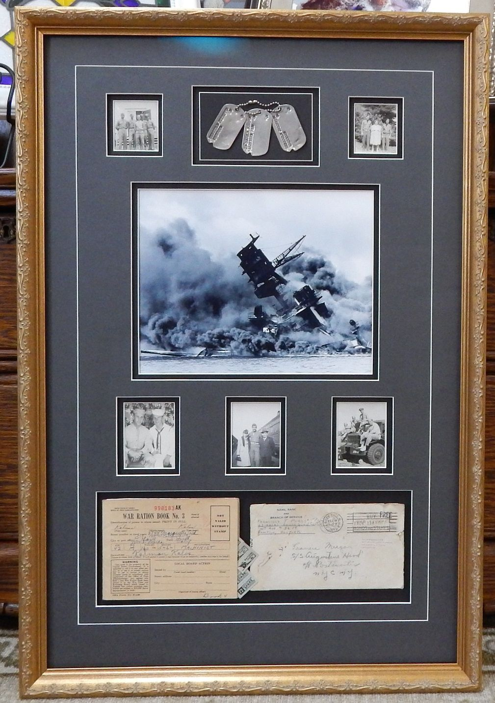Here Are A Collection Of Wwii Photos Dog Tags Mail And Ration Stamps Frames Matting Holmenwi Military Shadow Box Shadow Box Shadow Box Memory