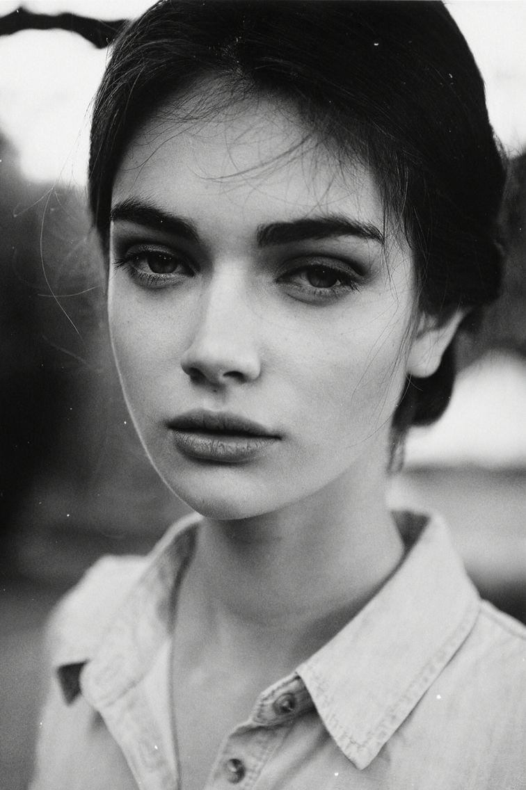 Черно-белый, фото, модель, лицо, внешность, девушка,черты ...