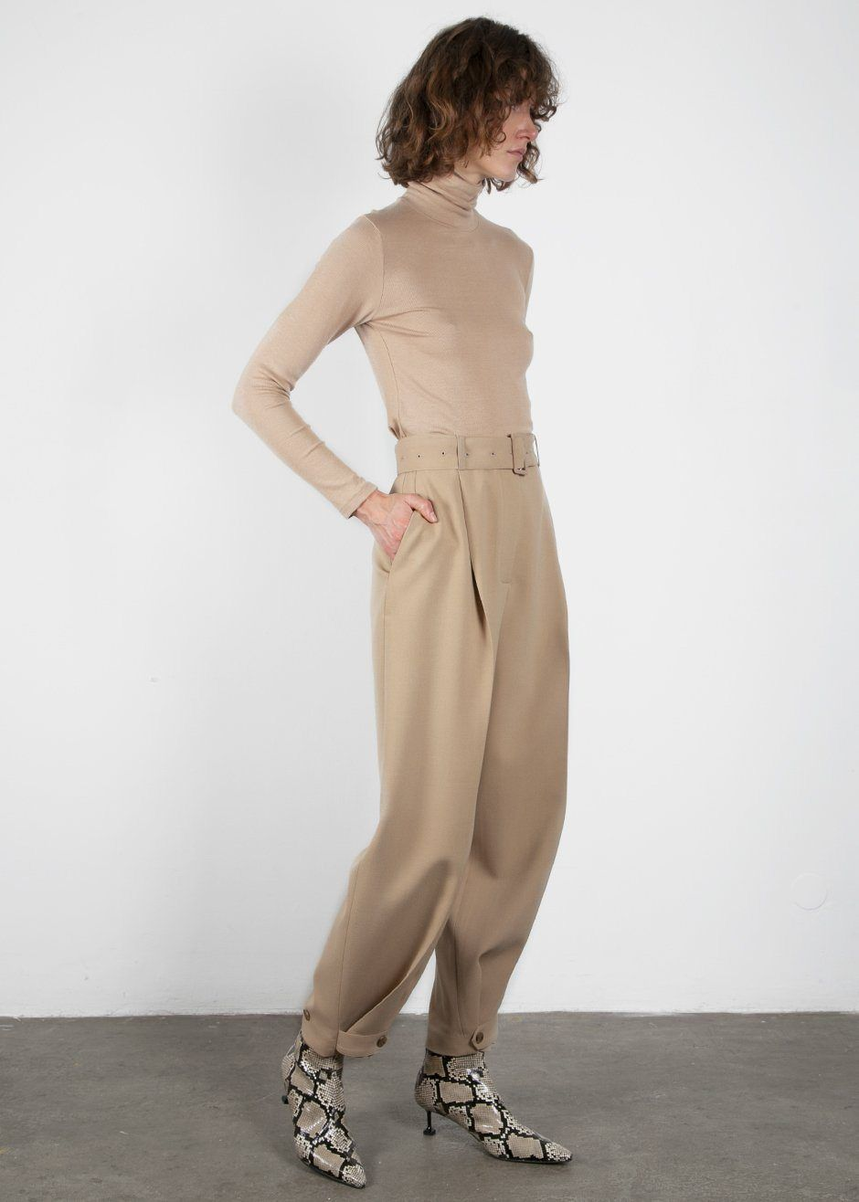 Classic Beige Belted Suit Pants With Button Tab Cuff The Frankie