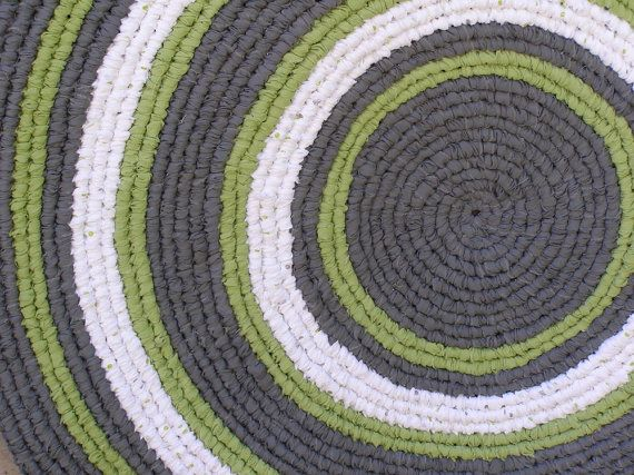 Primitive Rag Rug Gray White Le Green By Thechameleonsattic 85 00 Homefront Team