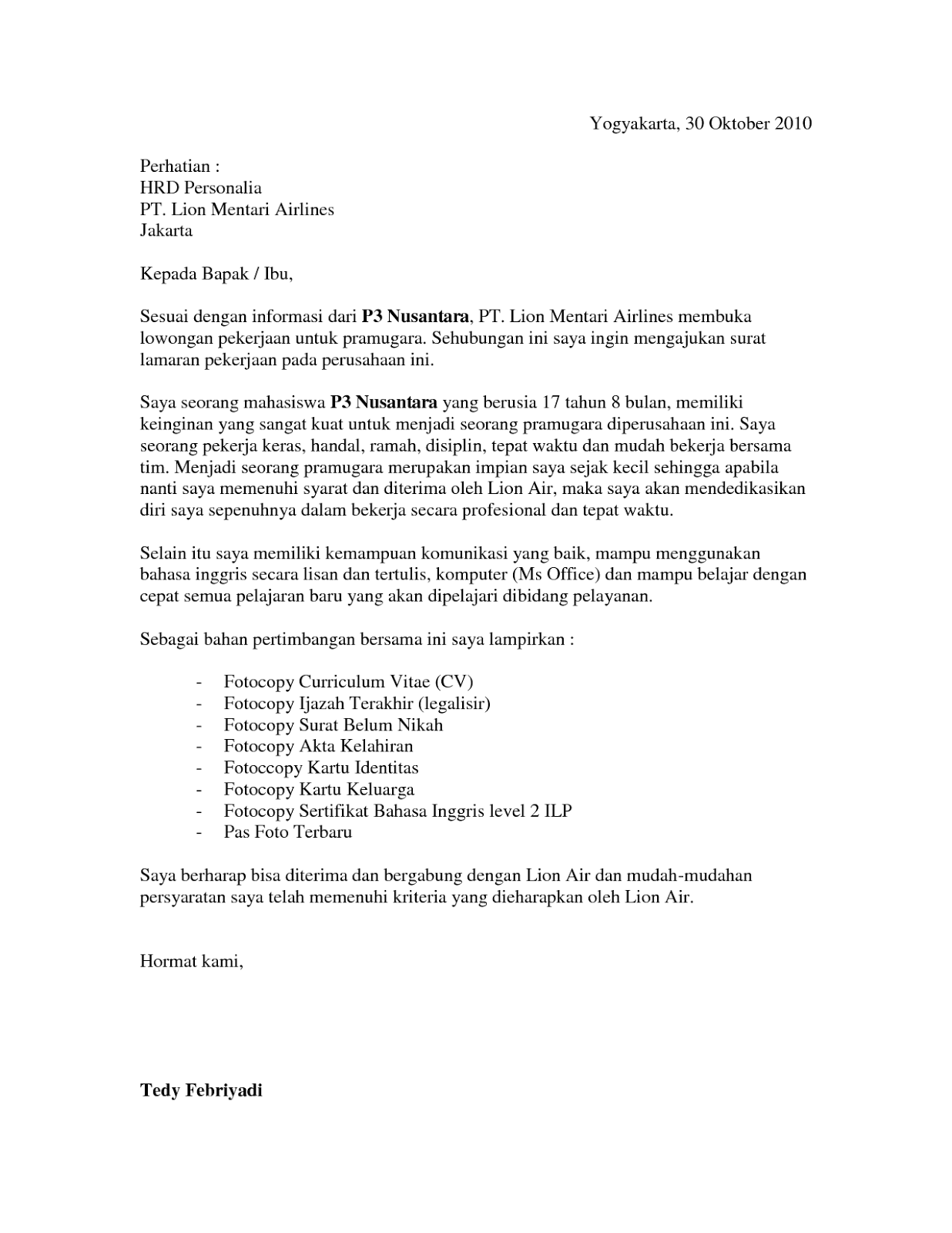 Contoh Surat Lamaran Kerja Ke Penerbangan Airlines Surat Penerbangan Bahasa