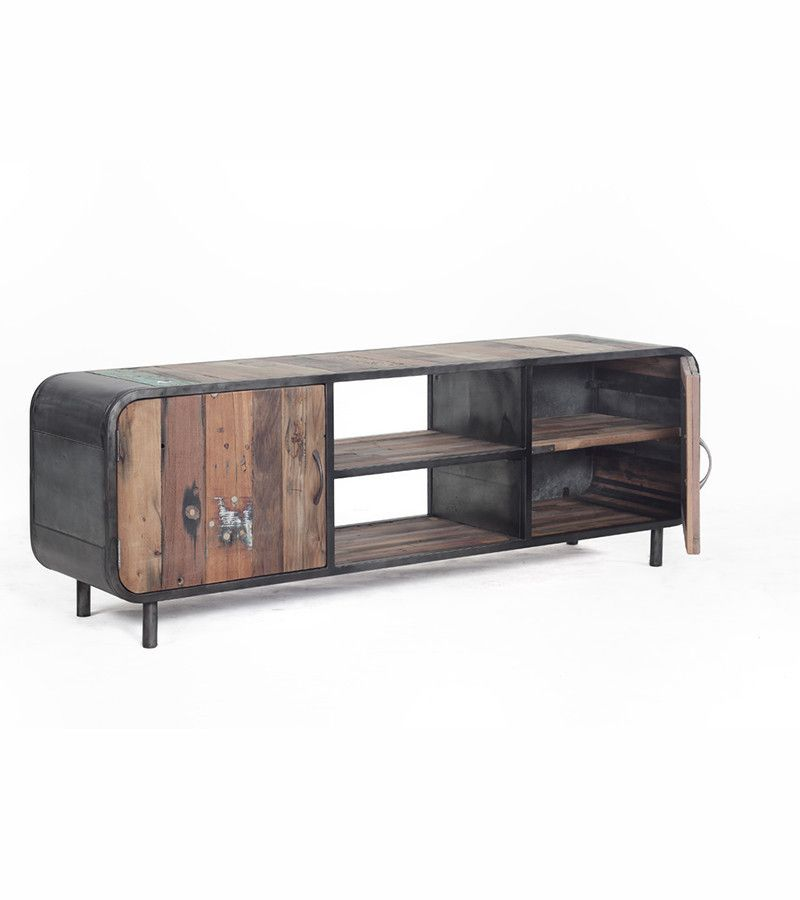 The Soft Curved Outline Of This Retro Styled TV/Media Unit Blend With The  Use Of Reclaimed Materials To Create A Really Unique And Eye Catching Piece  Of ...