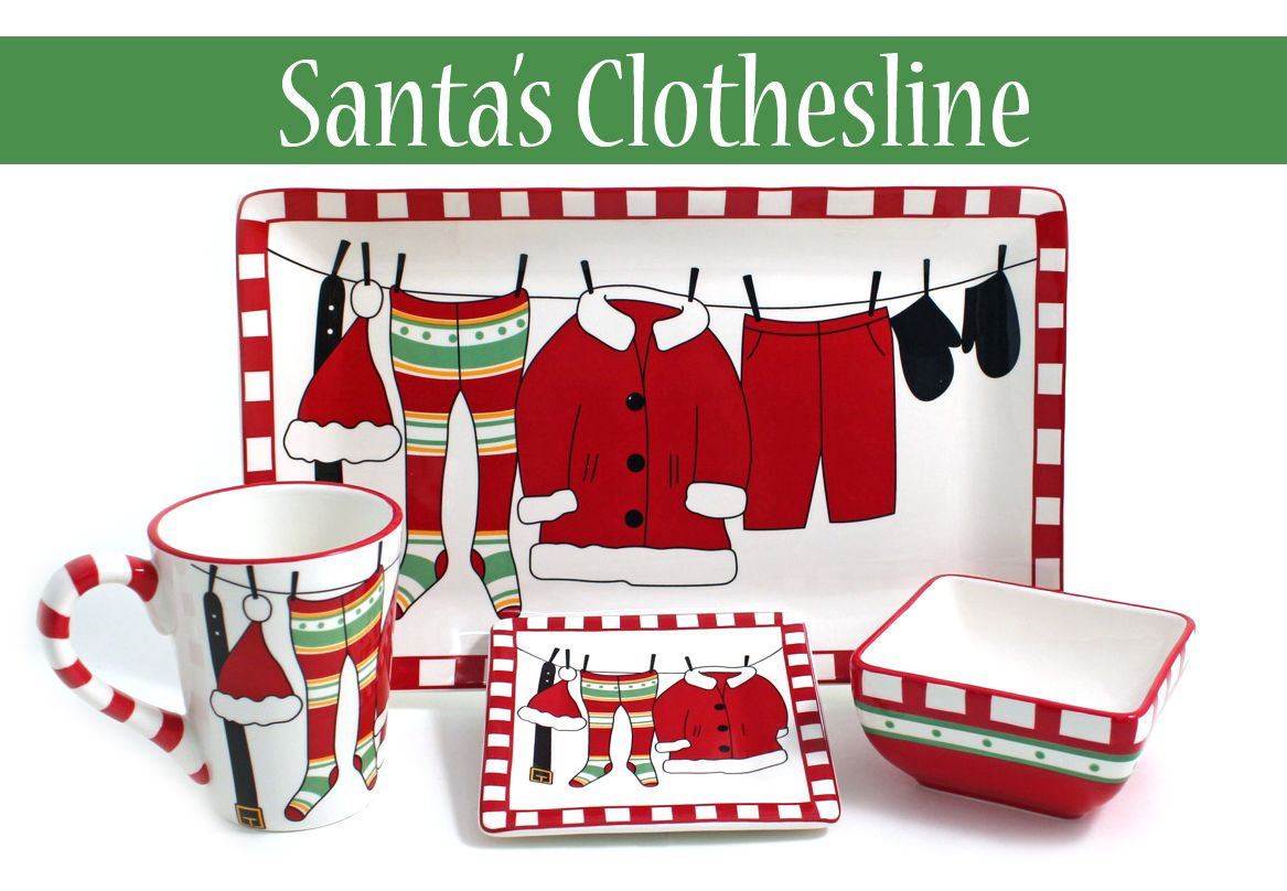 Santa is getting ready for Christmas - are you? Get the Santa's Clothesline collection at HomeGoods. Sure to put a smile on your face! Contact your local HomeGoods for availability.