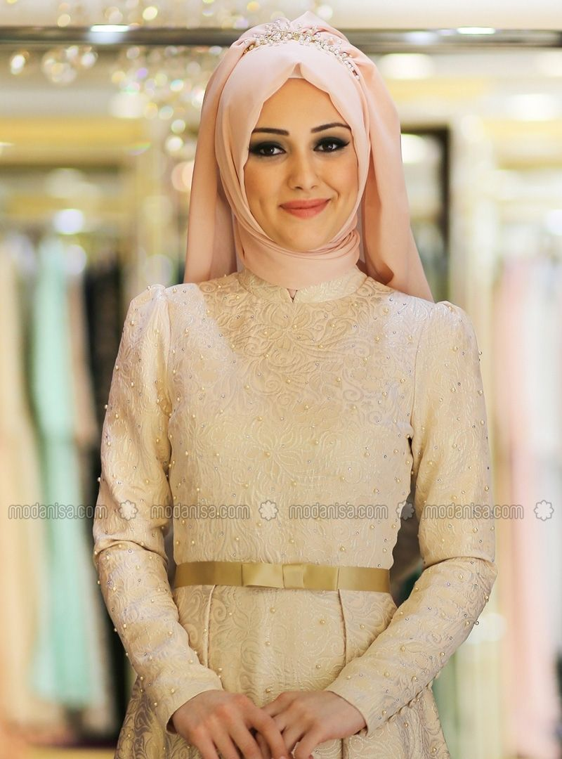 c535c30e508d2 Barocca Evening Dress - Salmon - Minel Ask | Hijab outfits | Evening ...