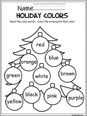 free christmas coloring activity to help young students learn the colors easy to differentiate for