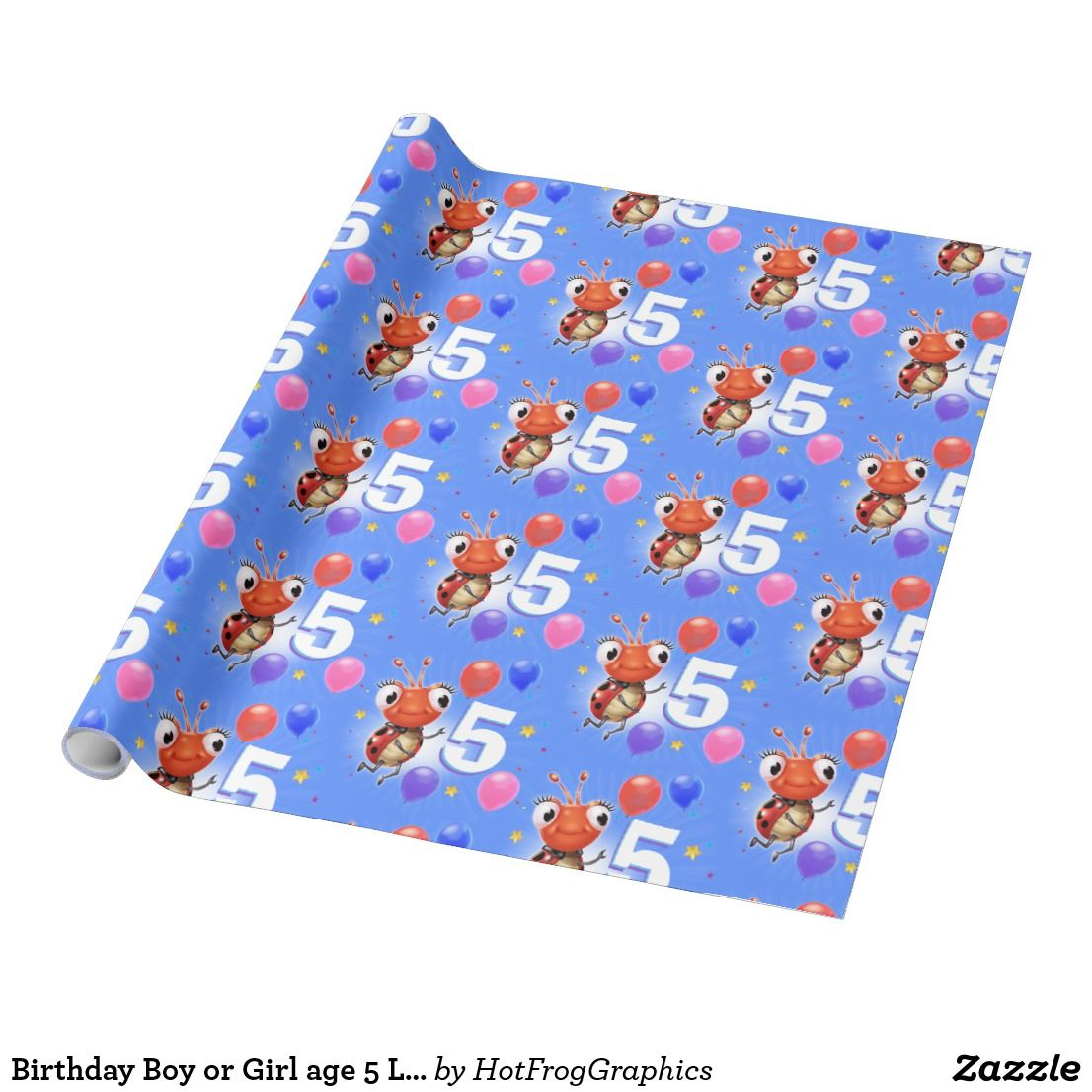 Birthday Boy Or Girl Age 5 Ladybug Wrapping Paper